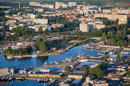 Kolobrzeg, panorama na Port od strony SW. EU., Pl, Zachodniopomorskie. Lotnicze.