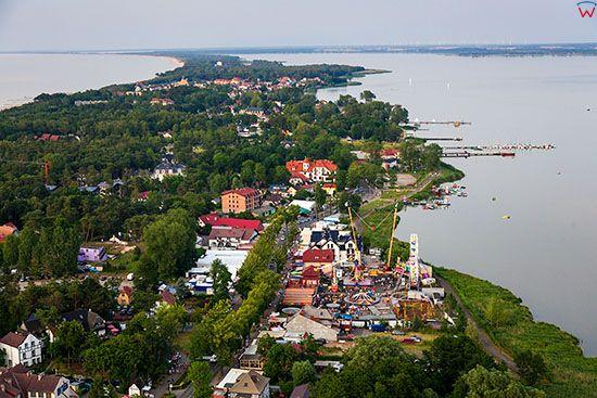 Mielno, linia brzegowa jeziora Jamno. EU, Pl, Zachodniopomorskie. Lotnicze.