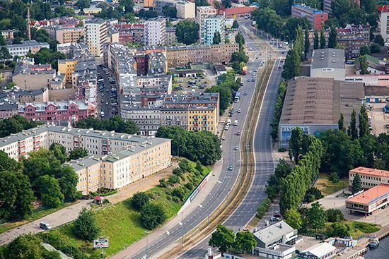 Szczecin, Srodmiescie - ulica Jana z Kolna. EU, Pl, Zachodniopomorskie. Lotnicze.