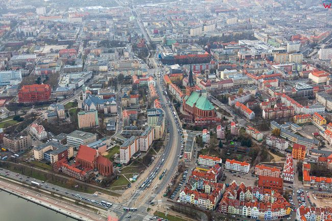 Szczecin, Stare i Nowe Miasto. EU, PL, Zachodniopomorskie. Lotnicze.
