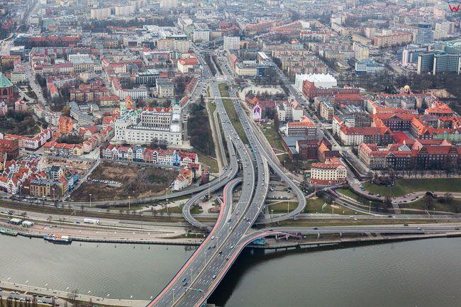 Szczecin, Bulwar Pistowski. EU, PL, Zachodniopomorskie. Lotnicze.