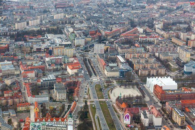 Szczecin, centrum miasta. EU, PL, Zachodniopomorskie. Lotnicze.