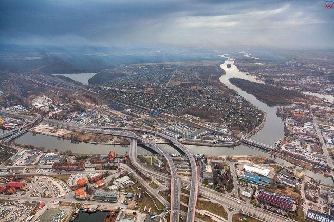 Szczecin, panorama na Srodmiescie. EU, PL, Zachodniopomorskie. Lotnicze.