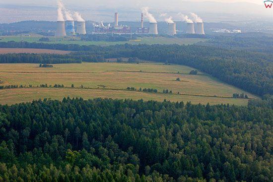 Elektrownia Turow. Widok od strony N. Dolnoslaskie. LOTNICZE. Europa/Polska