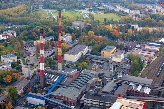 Katowice, Kopalnia Wegla Kamiennego Wujek. EU, PL, Slaskie. Lotnicze.