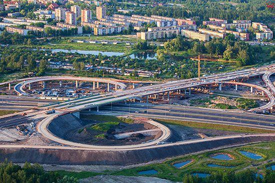 Gliwice, budowa skrzyzowania autostrad A1 i A2. EU, PL, Slaskie. Lotnicze.