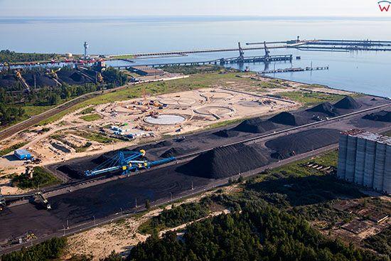 Gdansk, Port Polnocny - sklad wegla. EU, PL, Pomorskie. Lotnicze.