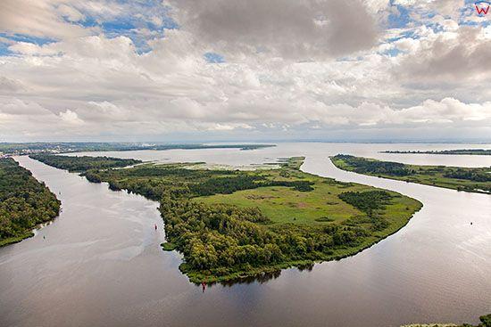 Szczecin, Wyspa Milenska Laka z panorama na jezioro Dabie. EU, Pl, Zachodniopomorskie. Lotnicze.