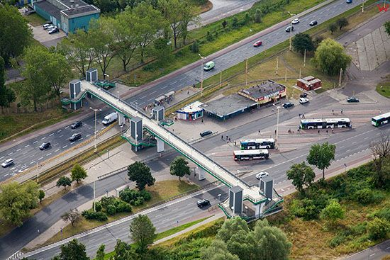 Szczecin, Petla Tramwajowo - Autobusowa Basen Gorniczy przy ul Gdanskiej. EU, Pl, Zachodniopomorskie. Lotnicze.