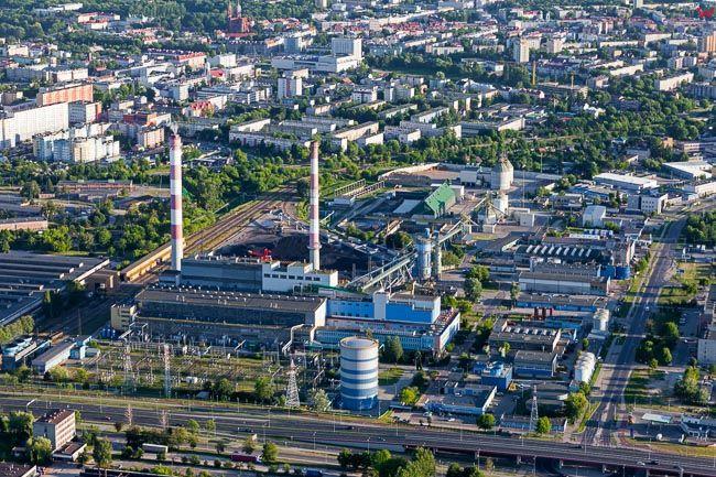 Bialystok, panoprama miasta od strony NE w kierunku elektrocieplowni. EU, PL, Podlaskie. Lotnicze.