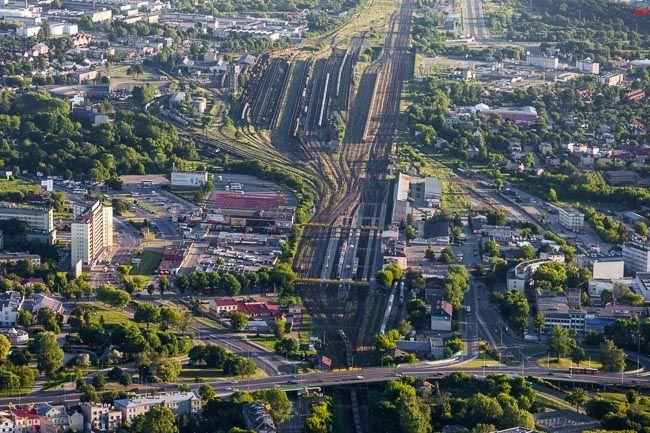 Bialystok, panorama od strony NE w kierunku Dworca PKP. EU, PL, Podlaskie. Lotnicze.