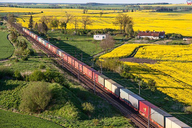 Satopy, linia kolejowa. EU, Pl, Warm-Maz. Lotnicze.