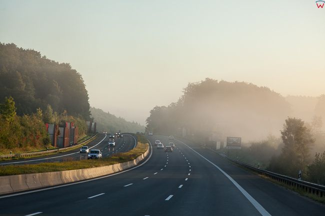 Nurnberger Land (Niemcy) 19.09.2015 r. Ruch na Autostradzie A9.