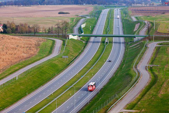 Leszczynka, odcinek drogi Nr S7 i 7 w okolicy Maldyt. EU, PL, Warm-Maz. Lotnicze.