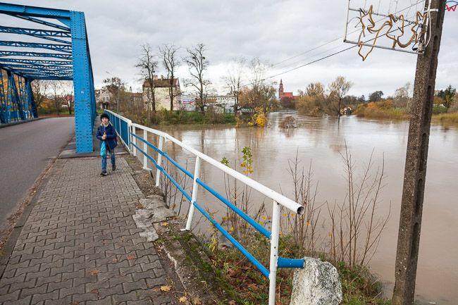 Sepopol, pow. bartoszycki. Jesienne opady deszczu spowodowaly lokolane podtopienia poprzez wystapienie z koryta rz. Lyna.. EU, PL, warm-maz