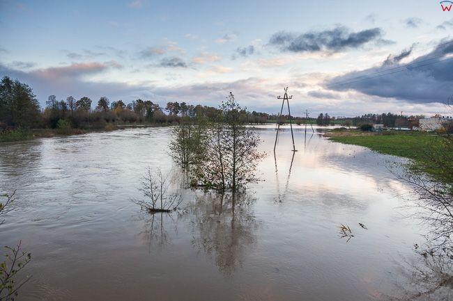 Prosna, pow. ketrzynski. Intensywne jesienne opady deszczu spowodowaly lokalne podtopienia poprzez wystapienie z koryta rz. Guber.. EU, PL, warm-maz