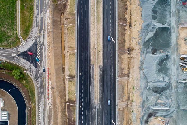 Kiezmark, budowa drogi nr 7 - S7. EU. PL,Pomorskie. Lotnicze.