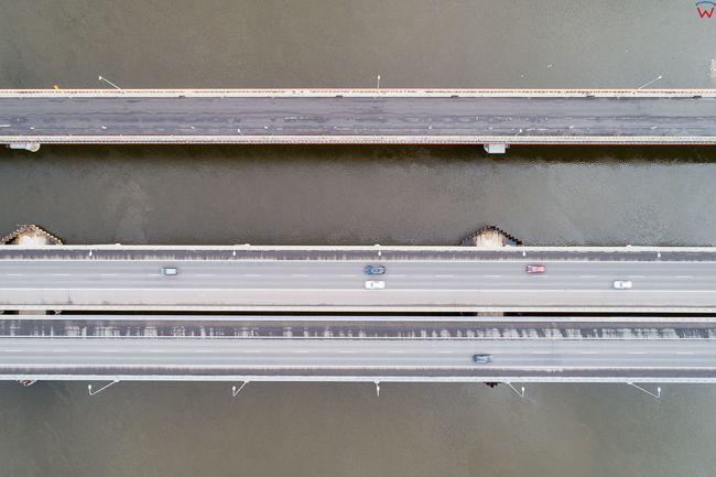 Kiezmark, most na Wisle w Kiezmarku. EU. PL,Pomorskie. Lotnicze.