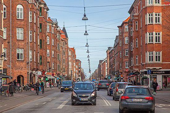 Kopenhaga (Dania). Ruch na ulicy Amagerbrogade