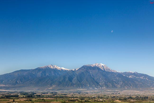 Grecja, Panorama na Gore Olimp. Panorama na Gore Olimp od strony wschodniej. EU, PL, Lotnicze