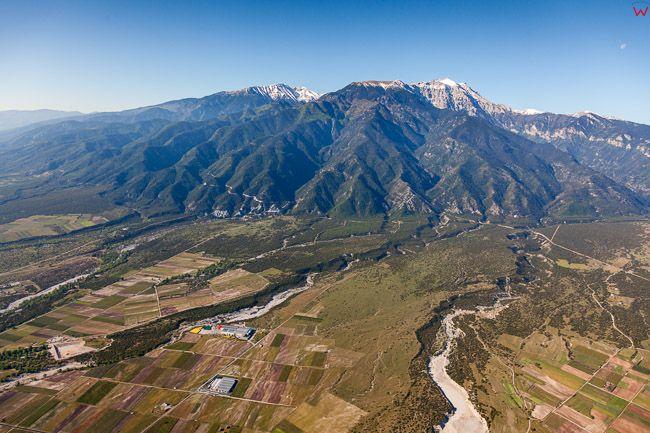 Grecja,. Panorama na Gore Olimp od strony wschodniej. EU, PL, Lotnicze
