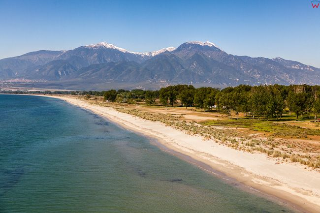 Grecja, Katerini - Zachodnie Wybrzeze Zatoki Termajskiej. Panorama na Masyw Olimpu. EU, PL, Lotnicze