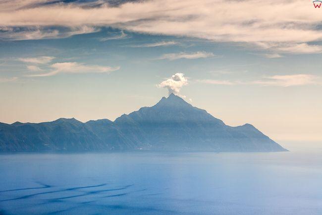 Grecja, Polwysep Chalcydycki - Sithonia peninsula. Panorama na Gore Atos. EU, PL, Lotnicze