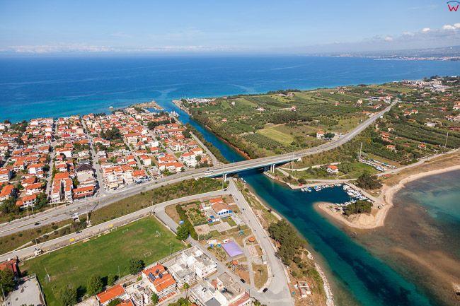 Grecja, Polwysep Chalcydycki - Nea Propontida Municipality. Potidea Canal. EU, PL, Lotnicze