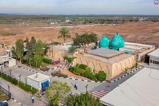 Irak, Babilon. Sanktuarium Imran bin Ali widoczne z lotu ptaka,