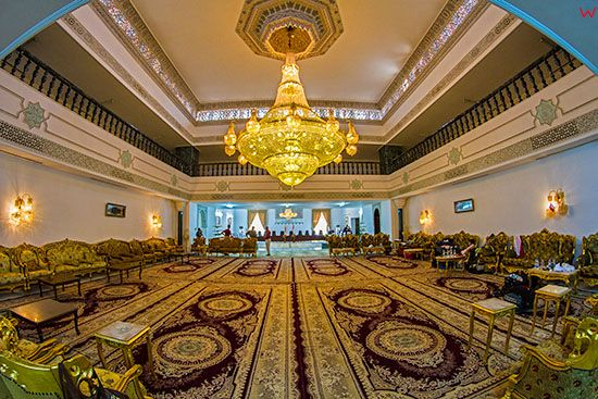 Irak, Babilon. Sala konferencyjna w palacu ogrodowym uĹĽytkowana przez Saddama Husajna. Lotnicze.