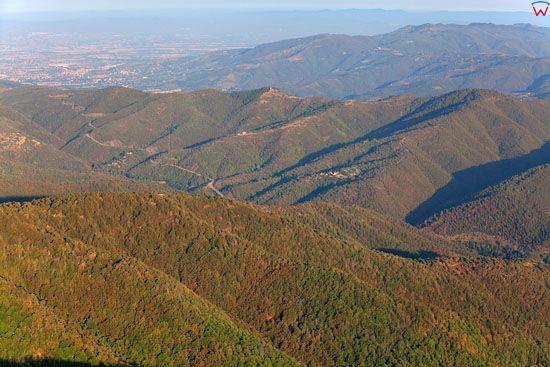 Apeniny Srodkowe, okolica Poggioni.  EU, Italia, Toskania. LOTNICZE.
