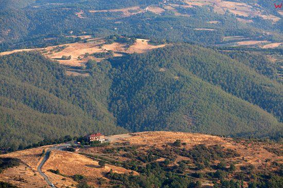 Apeniny, panorama okolicy Arezzo.  EU, Italia, Toskania. LOTNICZE.