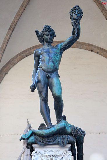 Statue Perseus With the Head of Medusa. Piazza della Signoria we Florencji. EU, Italia.
