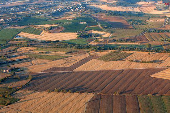 Pejzaz okolicy Badia All Pino. EU, Italia, Toskania. LOTNICZE.