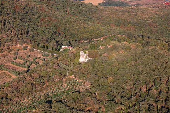 Apeniny w okolicy Pergine Valdarno. EU, Italia, Toskania. LOTNICZE.