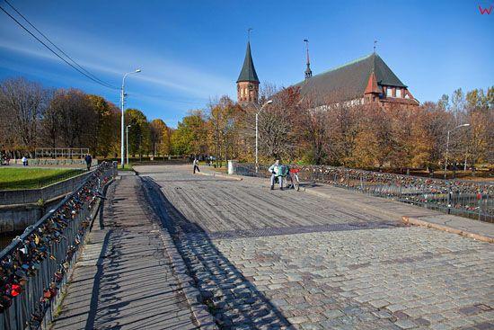 Kaliningrad, panorama na Ktedre przez Most Miodowy. EU, Rosja-Obwod Kaliningradzki.