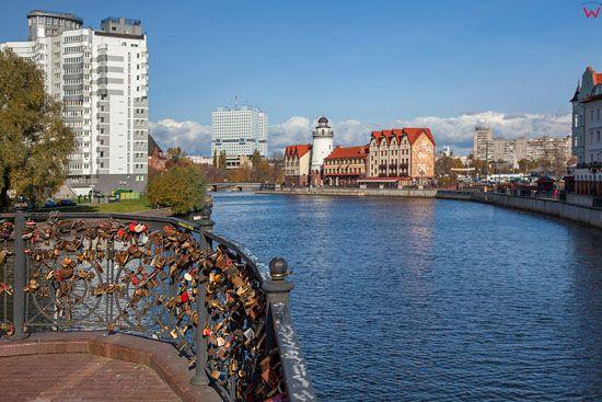 Kaliningrad, panorama przez Pregole na Katedre i nowe apartamentowce. EU, Rosja-Obwod Kaliningradzki.