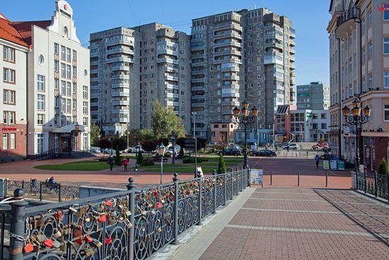 Kaliningrad, panorama na bloki miszkalne przy ulicy Oktiabrskiej. EU, Rosja-Obwod Kaliningradzki.