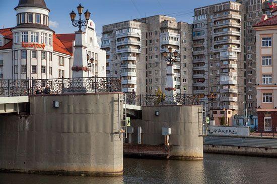 Kaliningrad, most na Pregole laczacy ulice Oktiabrska z Epronowskaja. EU, Rosja-Obwod Kaliningradzki.