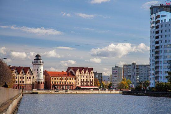 Kaliningrad, panorama przez Pregole w strone ulicy Oktiabrskaja. EU, Rosja-Obwod Kaliningradzki.