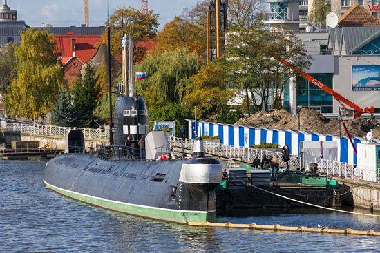 Kaliningrad, lodz podwodna b-413 zacumowana przy nabrzezu Piotra Wielkiego. EU, Rosja-Obwod Kaliningradzki.