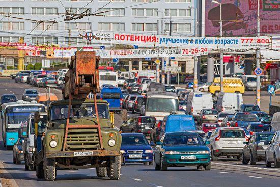 Kaliningrad, skrzyzowanie prospektu Leninskij z Szewczenki. EU, Rosja-Obwod Kaliningradzki.