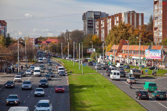 Kaliningrad, prospekt Moskowskij. EU, Rosja-Obwod Kaliningradzki.