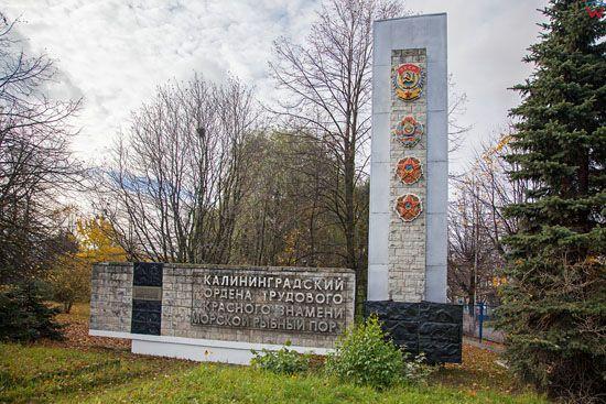 Kaliningrad, pomnik przy ulicy Portowej. EU, Rosja-Obwod Kaliningradzki.