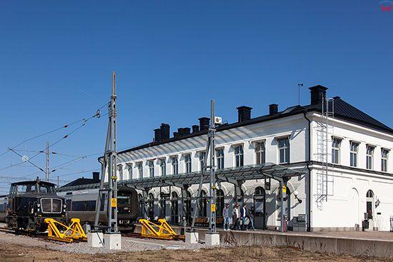 Karlskrona, kolejka przy stacji Kalskrona C- ulica Blekingegatan. EU, Szwecja.
