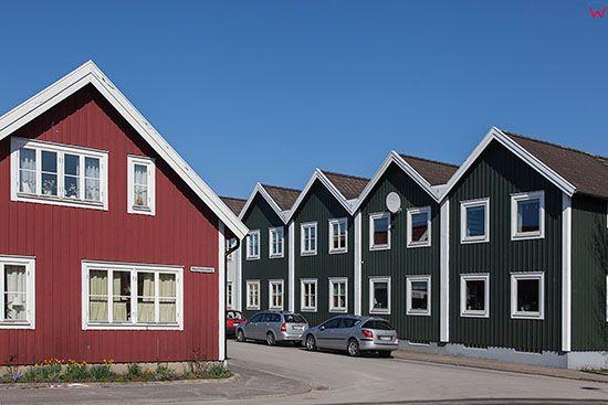 Karlskrona, domy w dzielnicy Björkholmen ulica Vachtmeistergatan. EU, Szwecja.