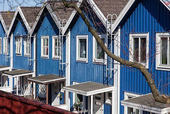 Karlskrona, domy w dzielnicy Bjorkholmen, ulica Vachtmeistergatan. EU, Szwecja.