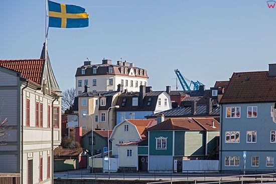 Karlskrona, zabudowa mieszkalna na Wyspie Ekholmen. EU, Szwecja.