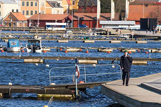 Karlskrona, Zatoka w centrum miasta. EU, Szwecja.