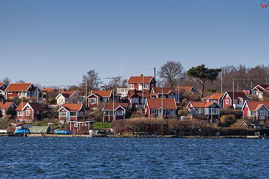 Karlskrona, domy mieszkalne na Wyspie Salto. EU, Szwecja.